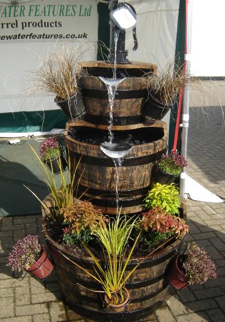 """3 Tier Oak Barrel Water Feature 34"""" Width"""