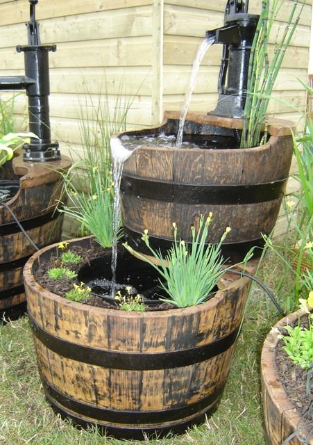 "2 Tier Oak Barrel Water Feature 25"" Width Pitcher Pump"